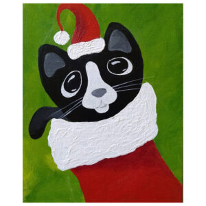 Christmas Cat Pre-drawn Canvas