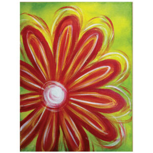 Small Red Flower Pre-drawn Canvas