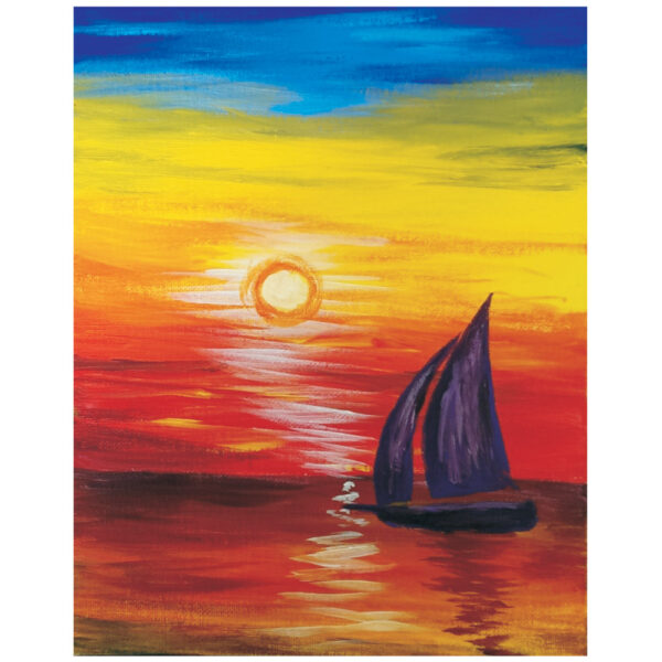 Colored Sailboat Pre-drawn Canvas