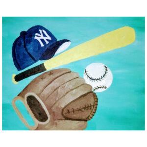 Baseball Gear Pre-drawn Canvas