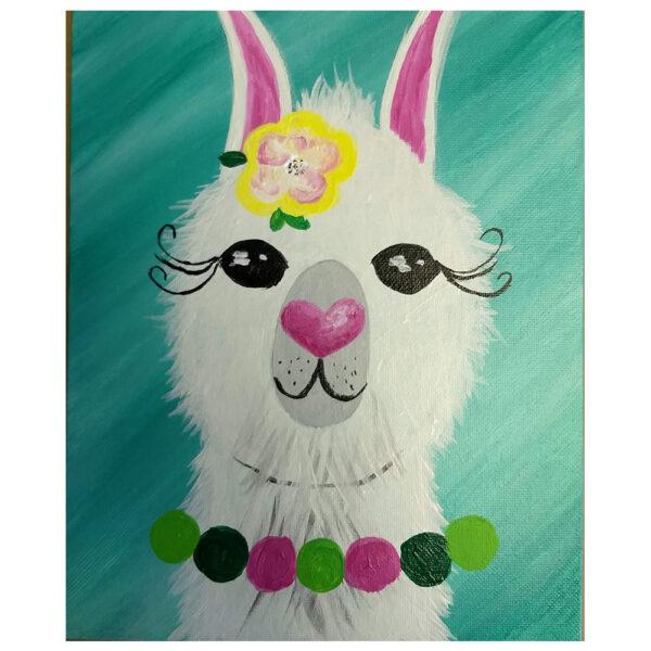 Llama Pre-drawn Canvas