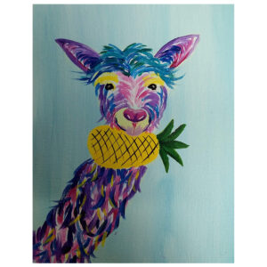 Llama and Pineapple Pre-drawn Canvas