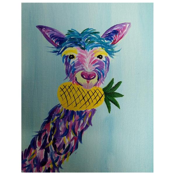 Llama and Pineapple Pre-drawn Canvas