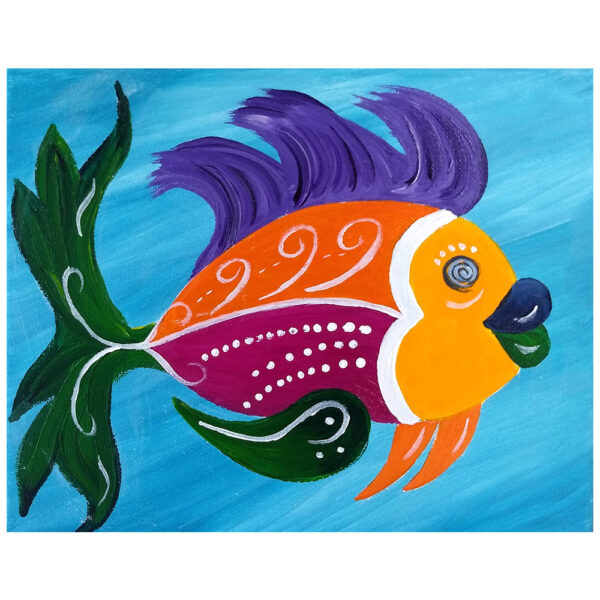 Colorful Fish Pre-drawn Canvas