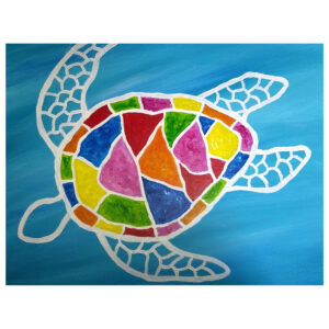 Colorful Turtle Pre-drawn Canvas