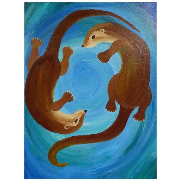 Otters Pre-drawn Canvas
