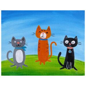 Three Cats Pre-drawn Canvas