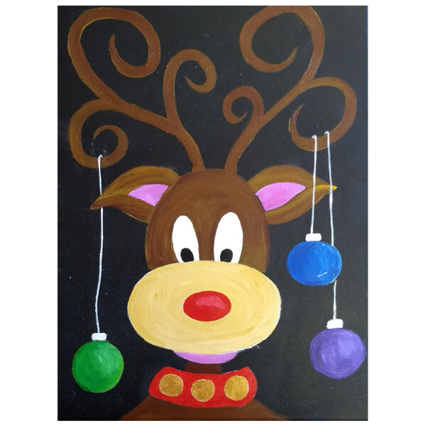 Reindeer and Ornaments Pre-drawn Canvas