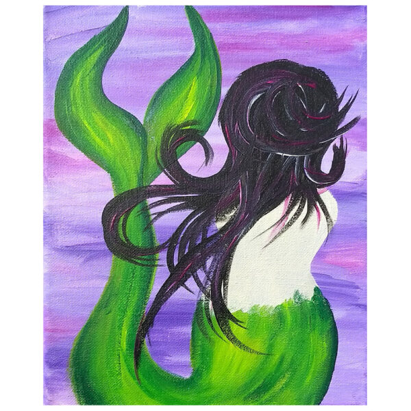 Mermaid Hiding Pre-drawn Canvas