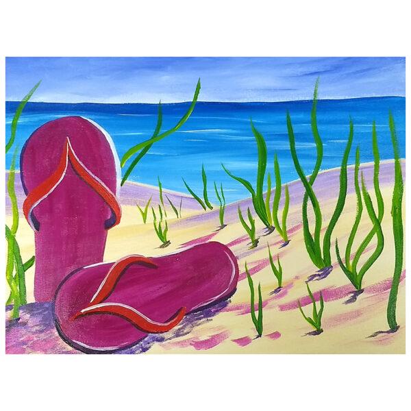 Sandals on the Beach Pre-drawn Canvas