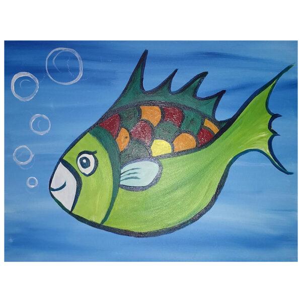 Green Fish Pre-drawn Canvas