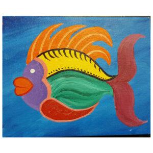 Rainbow Fish Pre-drawn Canvas