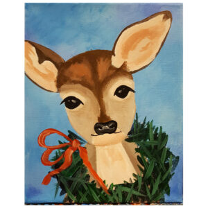 Deer and Christmas Wreath Pre-drawn Canvas