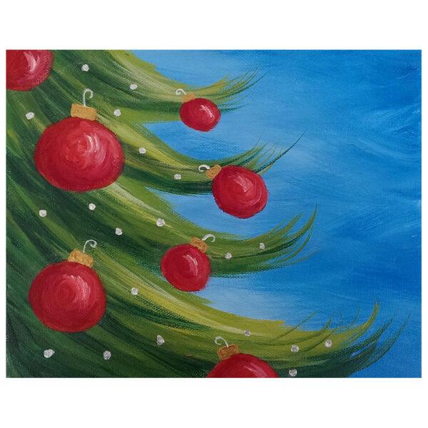 Closeup of Christmas Tree Pre-drawn Canvas