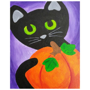 Cat and Pumpkin Pre-drawn Canvas