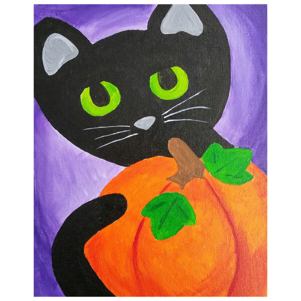 Cat and Pumpkin Pre-drawn Canvas