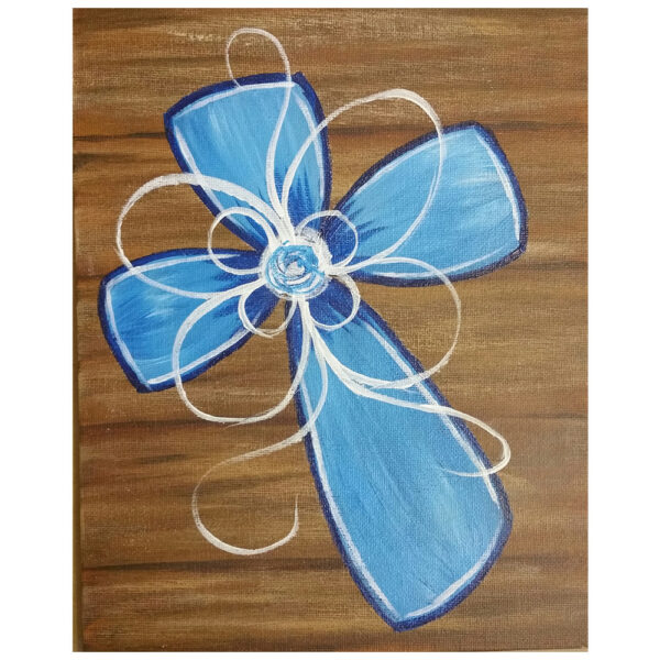 Flower Cross Pre-drawn Canvas