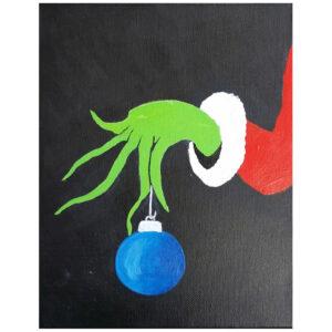 Grinch Holding Ornament Pre-drawn Canvas