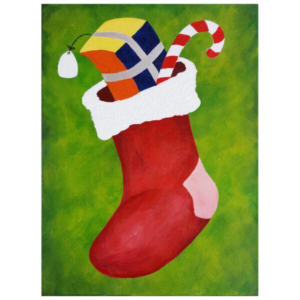 Stuffed Christmas Stocking Pre-drawn Canvas