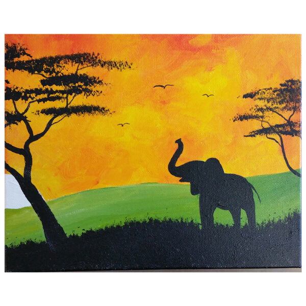 Elephant on the Safari Pre-drawn Canvas
