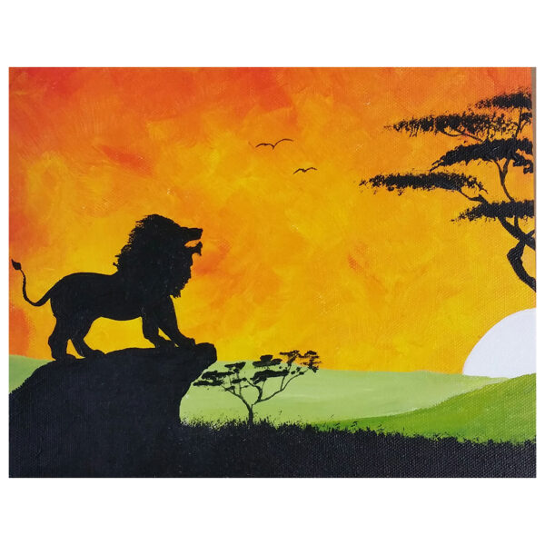 Lion Standing on a Rock Pre-drawn Canvas