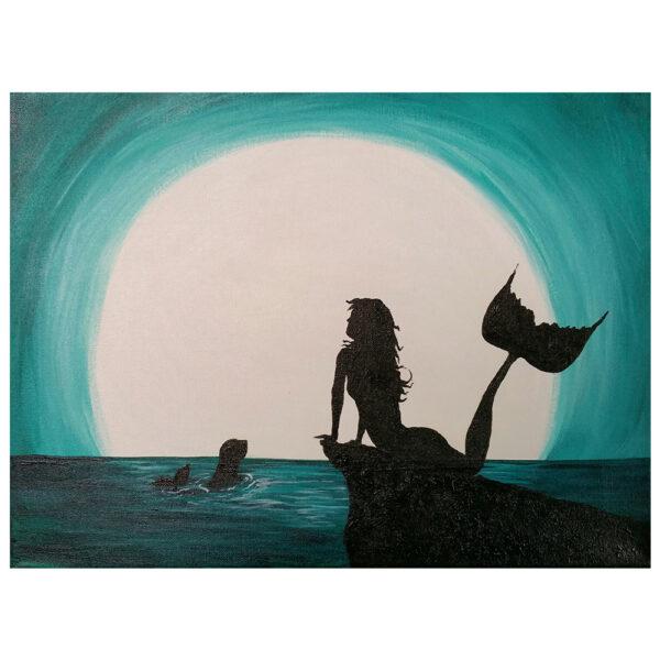 Mermaid on a Rock Pre-drawn Canvas
