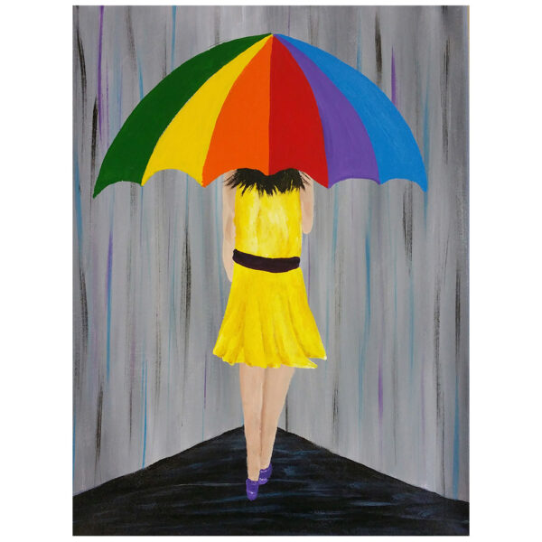 Girl Holding an Umbrella Pre-drawn Canvas