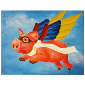 Flying Pig Pre-drawn Canvas