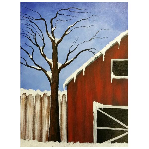 Snowy Barn Pre-drawn Canvas