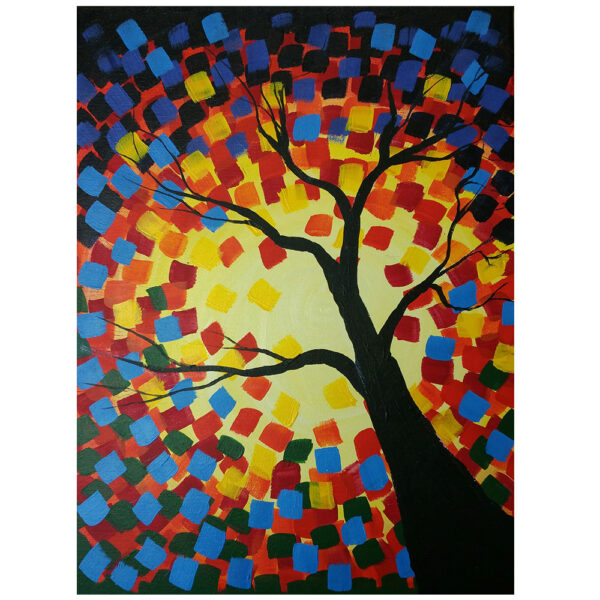 Abstract Tree Pre-drawn Canvas