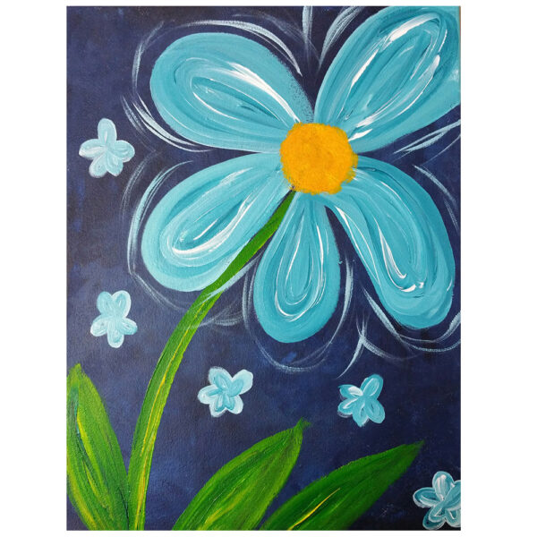 Turquoise Flower Pre-drawn Canvas