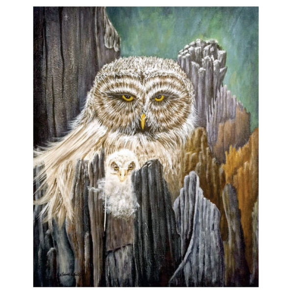 """Mother and Baby Owl 16"""" x 20"""""""