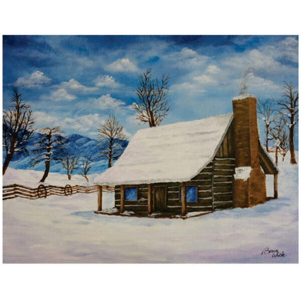 """Cabin in the Snow 16"""" x 20"""""""